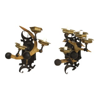 Rustic Horn and Iron Wall Sconces For Sale
