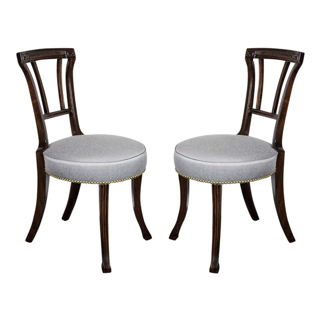 Pair of 1940s Hollywood Greek Key Occasional Chairs by Grosfeld House For Sale
