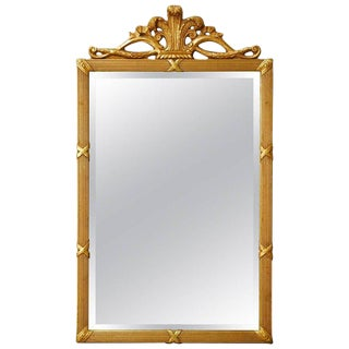 Louis XVI Style Giltwood Beveled Mirror For Sale