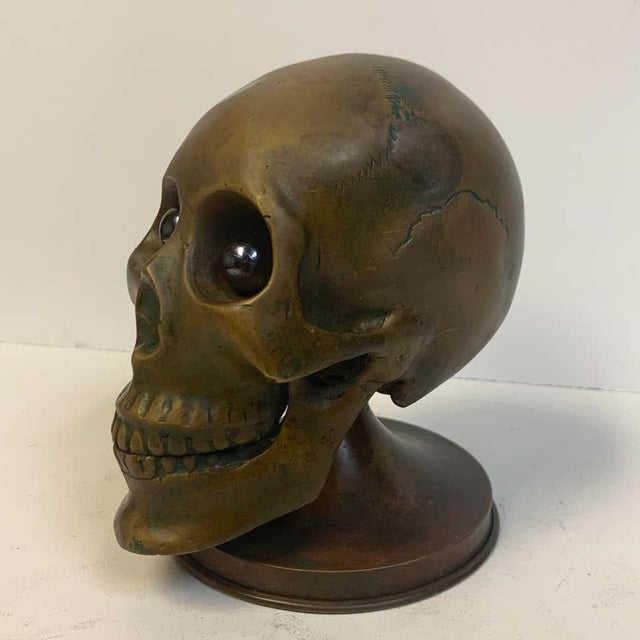 Victorian Bronze Skull With Glass Eyes, by s.w. Farber, New York For Sale In West Palm - Image 6 of 10