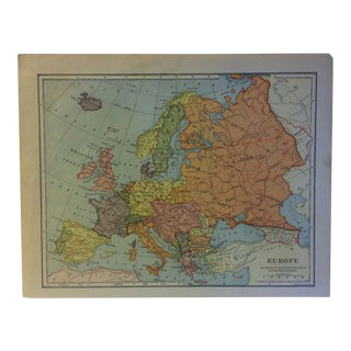 "Vintage Color Map on Paper, ""Europe"", Circa 1930 For Sale"