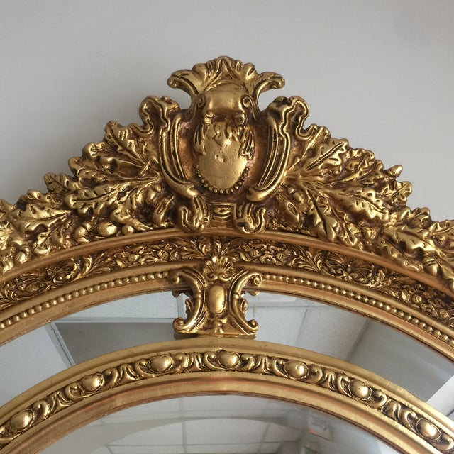 Glass Gilded Scrolling Floor Mirrors - A Pair For Sale - Image 7 of 8