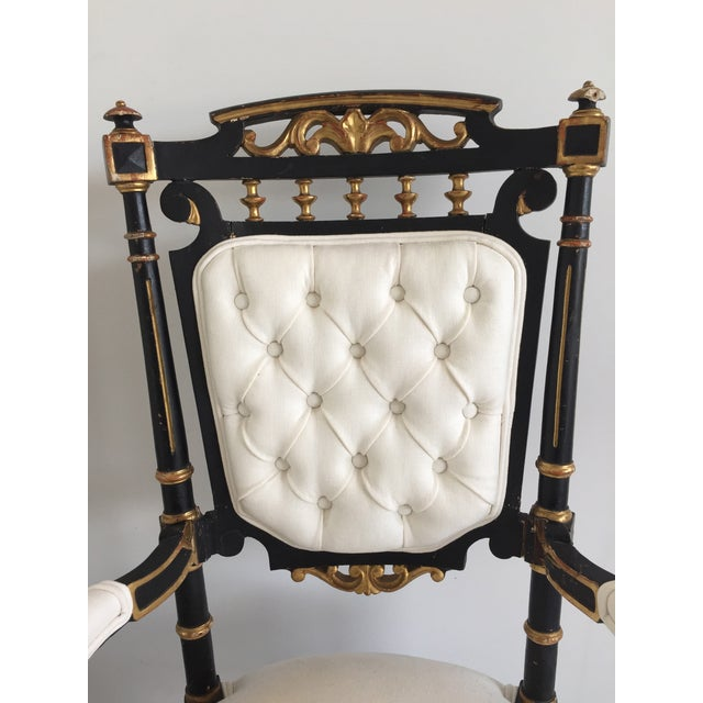 19th Century Ebonized and Gilded Chairs - Pair For Sale - Image 5 of 5