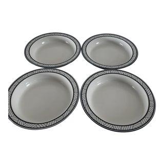 Modern Dansk Bistro Blue & White Set of 4 Soup Bowls For Sale