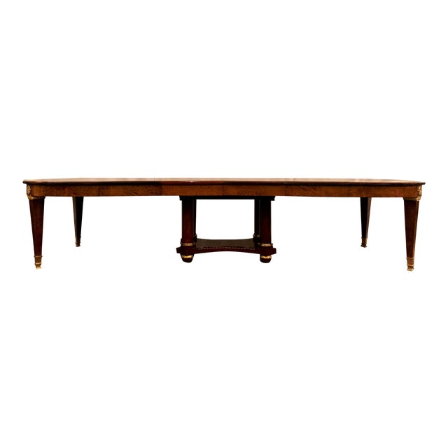 """Antique French Empire Style Circassian Walnut Dining Suite: Table, Sideboard and 12 Chairs. ~Table: 29 3/8"""" High x 53""""..."""