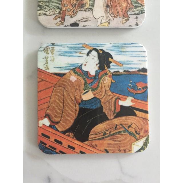 Asian Japanese Geisha Women Coasters - Set of 6 For Sale - Image 3 of 10