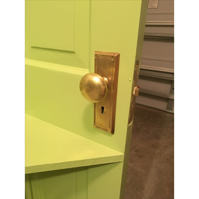 Repurposed Door Shelf in Spring Green For Sale - Image 4 of 4