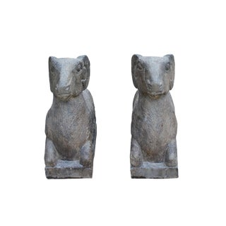 Chinese Pair Vintage Look Gray Color Crouching Ram Stone Statues For Sale