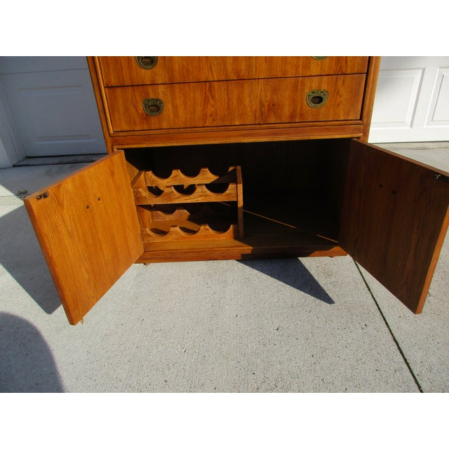 Drexel Heritage Campaign Style Bar Cabinet - Image 8 of 11