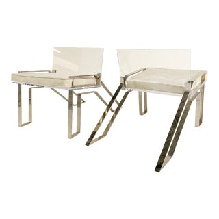 Charles Hollis Jones Lucite Chairs With Brazilian Cowhide Cushions, Pair For Sale
