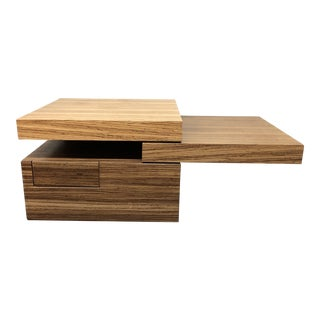 Custom Oak Cantilever Cocktail Table For Sale