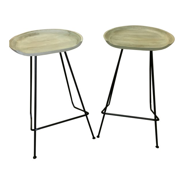 Modern Industrial Wood and Iron Barstools - Set of 2 For Sale