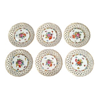 Antique Von Schierholz Porcelain Reticulated Hand Painted Dresden Plates - Set of 6 For Sale