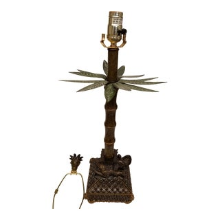 Tole Faux Painted Palm Tree Resting on a Burnished Gold Elephant Table Lamp For Sale