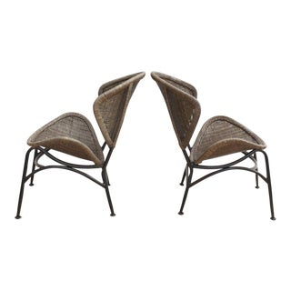 Pair of Mid Century Modern Wicker Chairs- In the Manner of Tempestini for Salterini