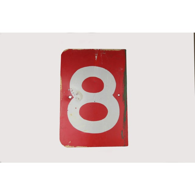 Vintage Number 8 Red Metal Sign From Airplane Hanger For Sale - Image 10 of 10