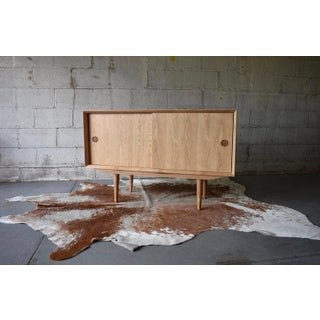 Apartment Sized Mid Century Modern Styled Oak Credenza Media Stand Preview