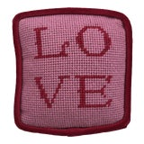 "Image of Original Dusty Pink ""Love"" Objet d'Art Needlepoint Pillow For Sale"