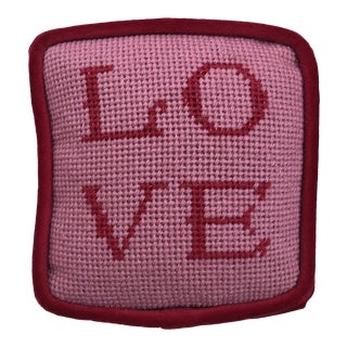"Original Dusty Pink ""Love"" Objet d'Art Needlepoint Pillow For Sale"