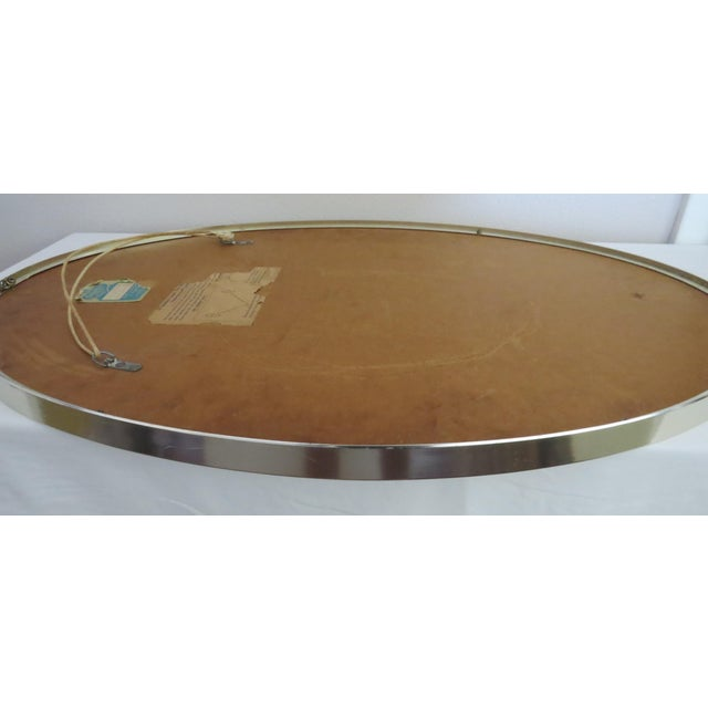 Silver Mid-Century Modern Turner Mfg. Oval Chrome Mirror For Sale - Image 8 of 13