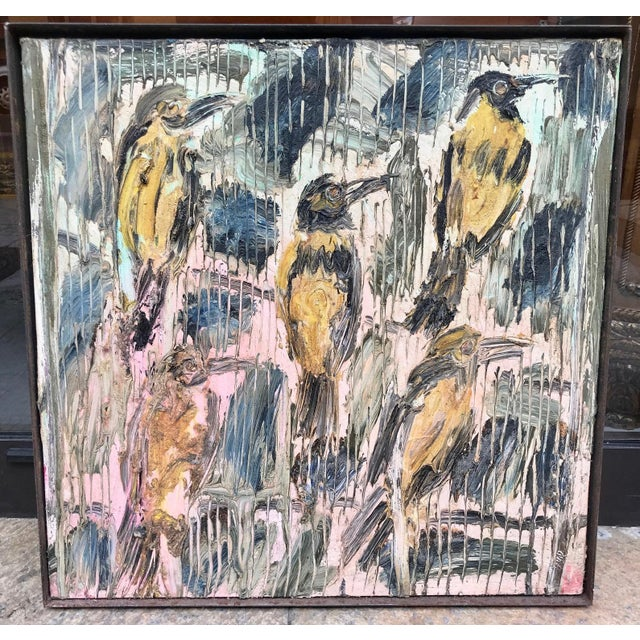 Expressionism 1995 Expressionist Hunt Slonem Oil Painting on Canvas, Five Birds For Sale - Image 3 of 3