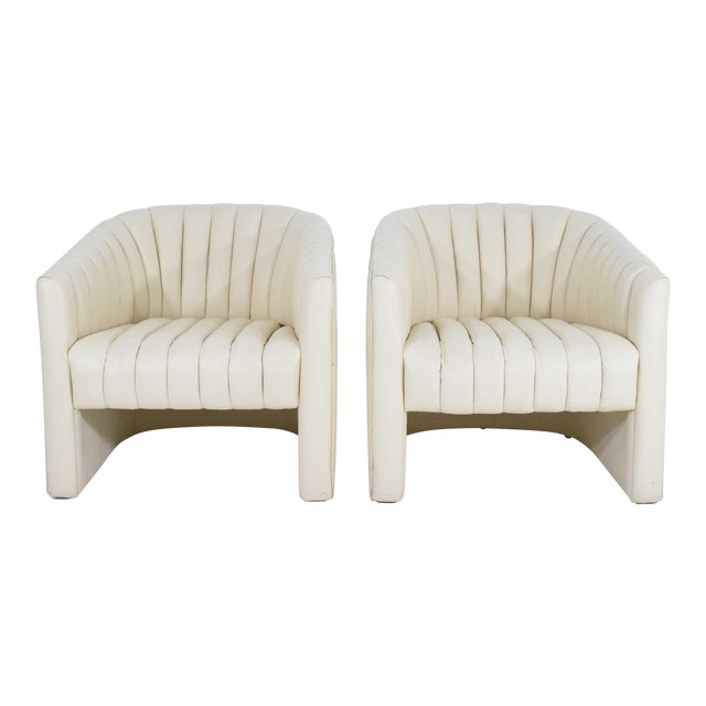 1980s Channel Tufted Barrel Back Tub Chairs - a Pair For Sale