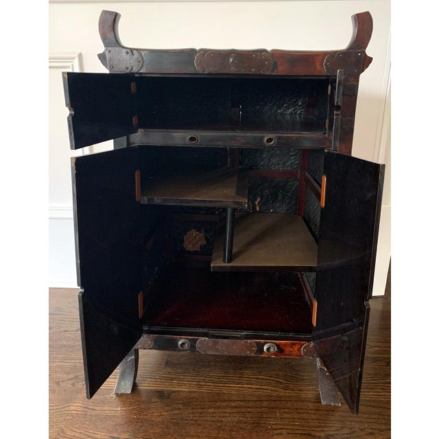 Wood Japanese Traveling Cabinet Oi Edo Period For Sale - Image 7 of 13
