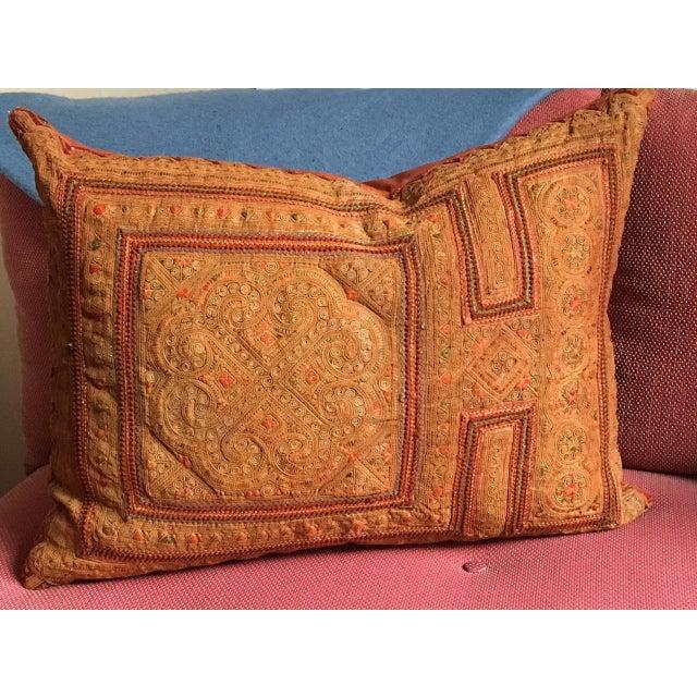 Vintage Appliqué Thai Textile Pillows with a burnt orange color cashmere/wool blend back. The appliqué is from Thailand...
