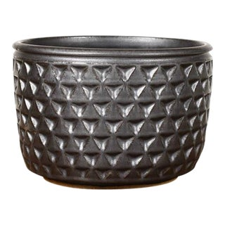 Modern Christian Boehr Black Gaze Ceramic Stoneware Planter For Sale