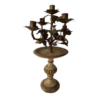 Antique Italian Gilded Wood and Tole Candelabra for 5 Candles For Sale