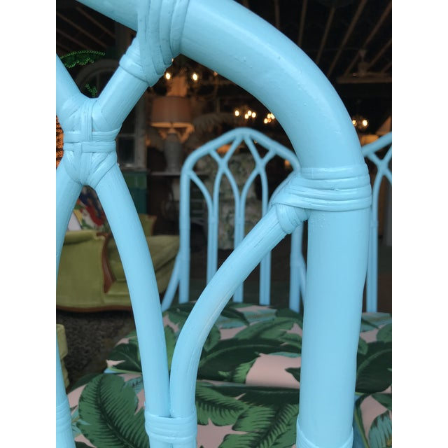 Coastal Regency Lexington Cathedral Turquoise Palm Leaf Upholstered Chairs-Four For Sale - Image 9 of 12