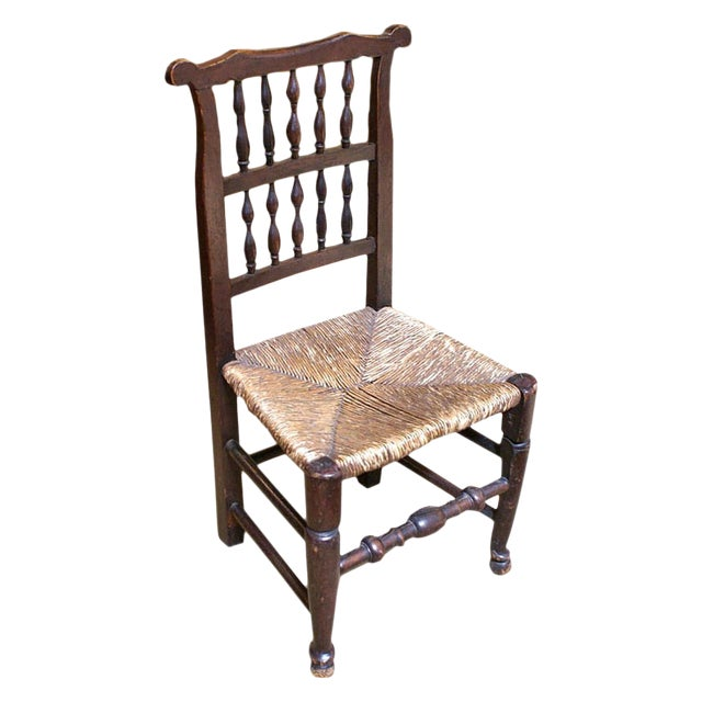 18th Century 1780 English Oak & Rush Seat Chair For Sale