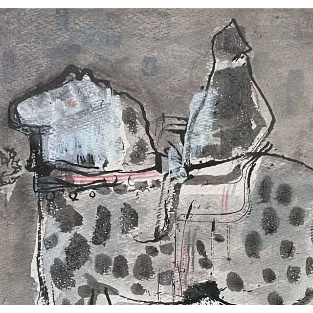 """1960s """"Horse and Rider"""" Modernist Figurative Gouache Painting by Birney Quick, Framed For Sale - Image 4 of 9"""