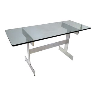 1960s Mid-Century Modern Polished Aluminum and Glass Writing Desk Console For Sale