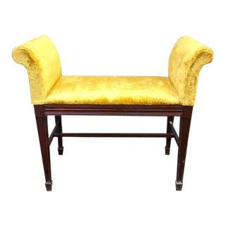 1970s Vintage Yellow Velvet Bench For Sale