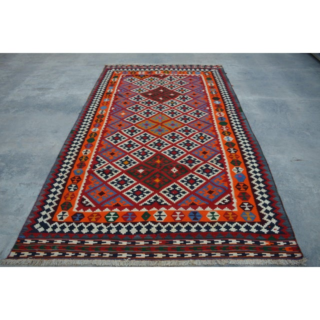 Persian Handwoven Wool Kilim Rug - 5′2″ × 9′9″ For Sale In Orlando - Image 6 of 6