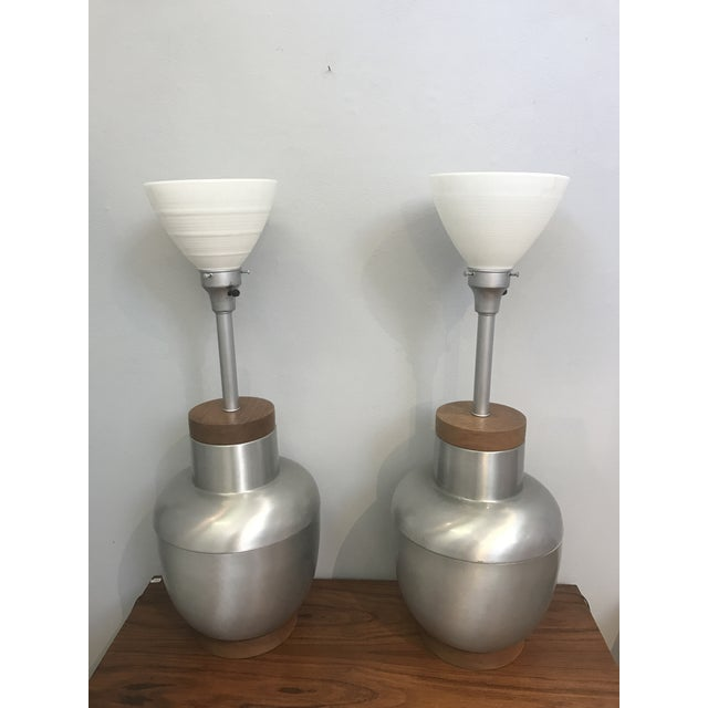 1950s Spun Aluminum & Walnut Lamps - A Pair For Sale - Image 4 of 4