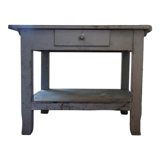19th Century French Blue Painted Farmhouse Side Table For Sale