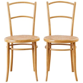 Pair of J. And J. Kohn Austrian Bentwood and Cane Chairs For Sale