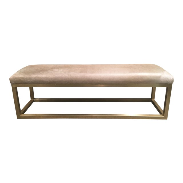Taylor Burke Home Brass Champagne Cowhide Kelly Bench - Image 1 of 4