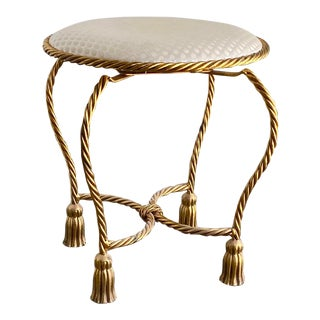 Twisted Brass Tassel Vanity Stool For Sale