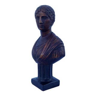 Plaster Gilt Bust of Goddess on Pedestal For Sale