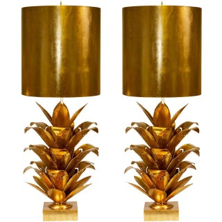 Worlds Away Arianna Gold Leaf Brutalist Palm Table Lamps With Gold Metal Shades – a Pair