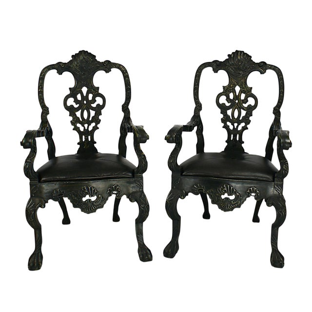 Portuguese Baroque Revival Green Armchairs - A Pair For Sale