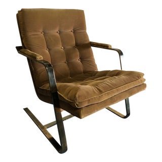 Vintage Mid Century Milo Baughman Flat Bar Cantilever Tufted Lounge Chair For Sale