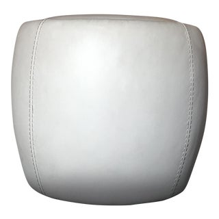 Post Modern Italian Cream Leather Round Storage Ottoman Footstool by Calligaris For Sale