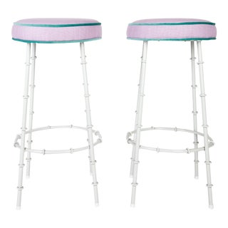 Lilac Faux Bamboo Bar Stools With Powder Coated Frames For Sale