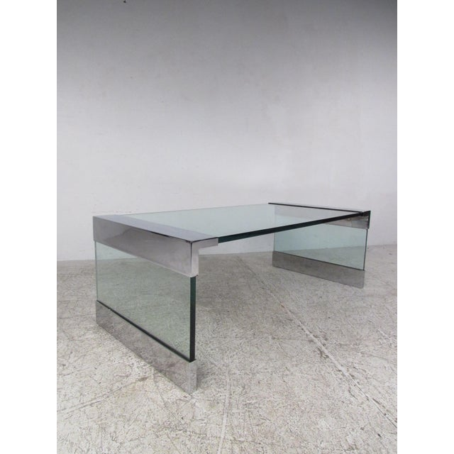 Brown Mid-Century Modern Chrome and Glass Coffee Table After Pace For Sale - Image 8 of 8
