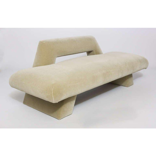 Harvey Probber Mayan Sofa Newly upholstered in beige mohair over wood frame. 90 w x 32 d x 28 h 229 w x 81 d x 71 h cm