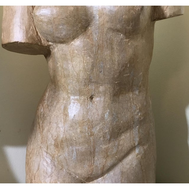 Neoclassical Vintage Marble Female Torso Statue For Sale - Image 3 of 11